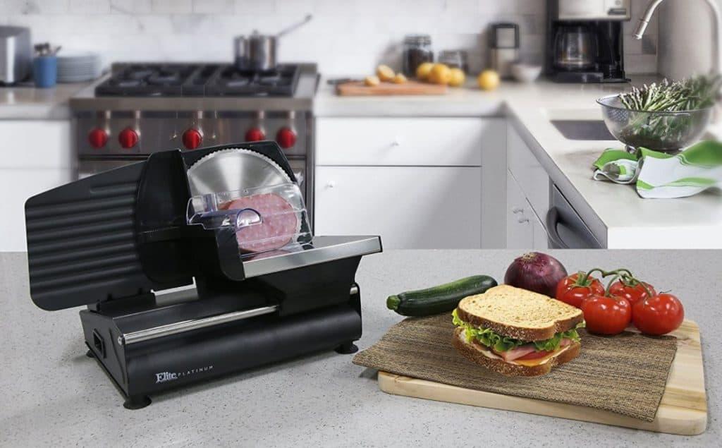 EMT-503B Electronic Die-Cast-Aluminum Food Slicer from Elite Gourmet